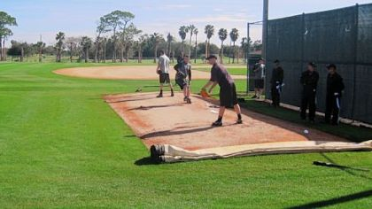 Paul Maholm, middle, is one of three pitchers throwing simultaneously on the first day of the Pirates' minicamp in Bradenton, Fla.