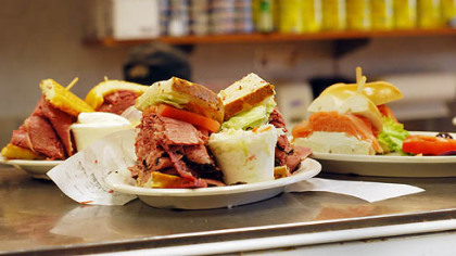 Sandwiches ready for pick-up at the counter at Corky & Lenny's deli.
