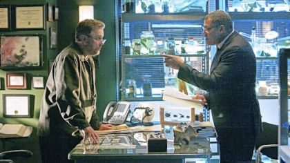 "On tonight's episode of ""CSI,"" Grissom, (William Petersen), left, announces he's leaving, paving the way for Dr. Langston (Laurence Fishburne) to take a permanent position with the team."