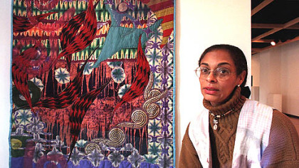 Pittsburgh artist Tina Williams Brewer, pictured with one of her story quilts, was presented with the 2008 Service to the Arts Award last week by The Guild Council of Pittsburgh Filmmakers/Pittsburgh Center for the Arts.