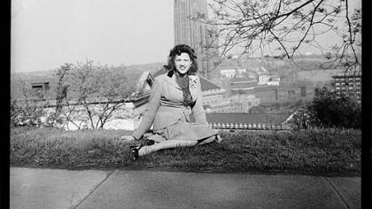 "Charles A ""Little Teenie"" Harris thinks his father's favorite image in the show would be that of his second wife, Elsa Lee Elliott Harris, sitting on a grassy hill with the Cathedral of Learning behind her, circa 1940-50."