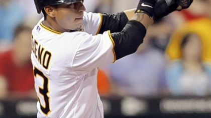 Pirates shortstop Ronny Cedeno hits a single and breaks up a no-hitter for Diamondbacks pitcher Yusmeiro Petit in the eighth inning.