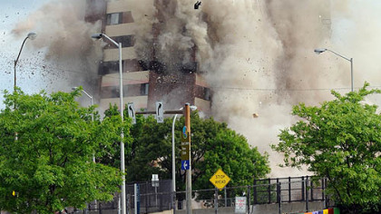 The explosive demolition of the Penn Circle high-rise at 6231 Penn Ave. in Pittsburgh&#039;s East Liberty neighborhood yesterday.