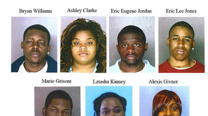 This combo of photos released by the Allegheny County police shows seven Pittsburgh-area ACORN workers charged with forgery. Those charged are, from top left, Bryan Williams, 22, of McKeesport, Pa.; Pittsburgh residents Ashley Clarke, 21; Eric Jordan, 19; Eric Jones, 20; and Mario Grisom, 28; Latasha Kinney, 27, of New Kensington,; and Alexis Givner, 23, of West Mifflin.