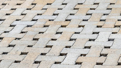 The gaps between Eco-Tek permeable pavers allow rainwater to pass through.