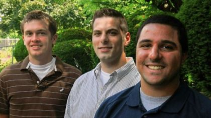 (From left to right) Drew Slater, a business major at Waynesburg College,  Anthony Pugliese, a double major in finance and marketing from Pitt, and Lewis Russo, a marketing major at Pitt, all of whom graduated from Thomas Jefferson High in 2005. They, like recent college graduates nationwide, have had a tough time finding work in the local job market. With a spot in the family funeral home business, Mr. Slater has been most succesful, they say.