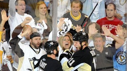 The Penguins' Jordan Staal celebrates his goal with teammate Maxime Talbot against the Red Wings in the second period of Game 4 of the Stanley Cup Final at Mellon Arena last night.