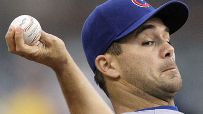 Cubs pitcher Ted Lilly throws in the first inning of last night's game.