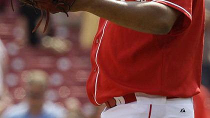 Reds closer Francisco Cordero celebrates after yesterday&#039;s win.