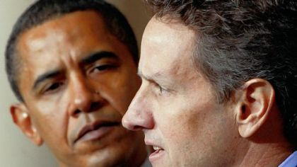 President Barack Obama listens to Treasury Secretary Timothy Geithner speak yesterday at the White House.