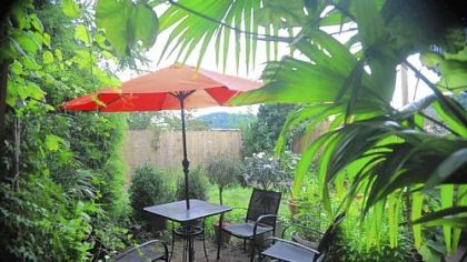 The outdoor pergola at Pusadee''s Garden, a new Thai restaurant located at 5321 Butler Street in Lawrenceville.