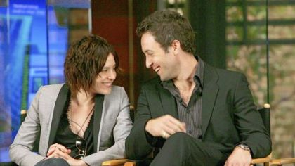 Stars Kate Moennig and Alex O'Loughlin during a press conference with television critics.