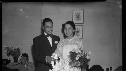 "Photo of Charles A. ""Little Teenie"" Harris on his wedding day."