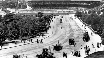 This was the view from Schenley Park on July 5, 1909, when Forbes Field was only a week old.