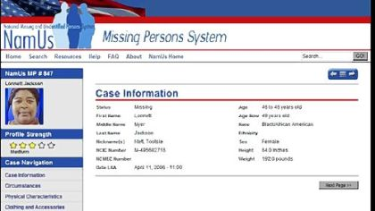 The new Web site NamUs.gov, for National Missing and Unidentified Persons System, shows the page for missing Pittsburgher Lonnett Jackson.