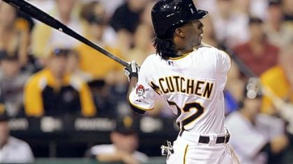 Andrew McCutchen hits his third home run of the game in the sixth inning against the Nationals last night.