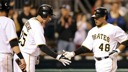Pirates outfielder Delwyn Young is congratulated by first baseman Adam LaRoche after hitting a three-run homerun against the Brewers.