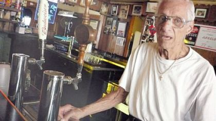 Angelo Cammarata, 95, behind the bar at Cammarata&#039;s in West View.