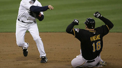 Padres second baseman David Eckstein throws to first after forcing out the Pirates&#039; Eric Hinske in the second inning last night. The Pirates&#039; Brandon Moss was safe at first.