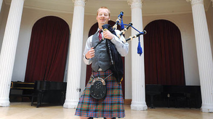 "CMU senior and bagpipe major Nick Hudson -- ""Some people think it's cool, some people think it's crazy, but everyone has a reaction, that's for sure."""
