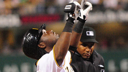 Lastings Milledge celebrates his first home run as a Pirate in the fifth inning last night.