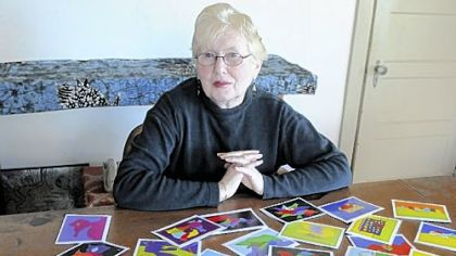 "Ruth Drescher, 75, of Squirrel Hill, is the creator of ""Friendly Creatures,"" a line of note cards that feature abstract, colorful and computer-generated images of animals."