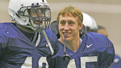 Penn State's Sean Lee, right, with Maurice Evans during a football practice at State College in March of 2008.