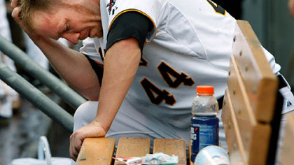 Pirates outfielder Brandon Moss waits for the final out in the bottom of the ninth inning of a 4-2 loss to the Cubs yesterday at PNC Park.