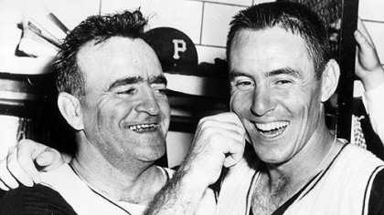 Danny Murtaugh and Bill Mazeroski after 1960 Word Series Victory.