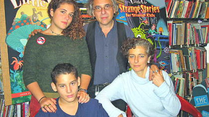 Francoise Mouly, right front, and husband Art Spiegelman created a line of hard-cover comic books for beginning readers last year. Also pictured are the couple's daughter, Nadja, and son, Dash, who was the inspiration for the series.