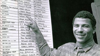 Rod Woodson examines the 1987 draft board.