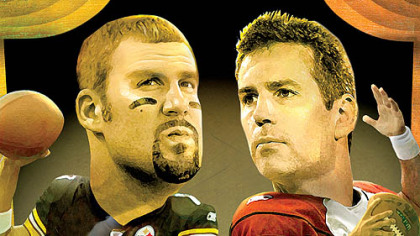 The two quarterbacks: Ben Roethlisberger and Kurt Warner