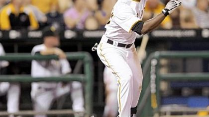 Andrew McCutchen watches his third home run of the game in the sixth inning against the Nationals last night at PNC Park.