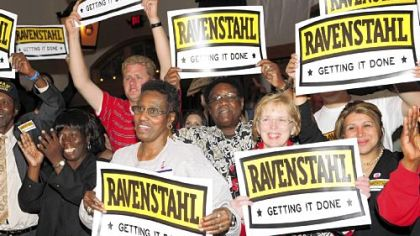 Mayor Luke Ravenstahl's supporters celebrate his big primary victory Tuesday night.