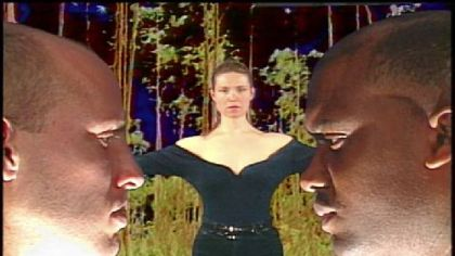 A still from &quot;Spanglish,&quot; one of 10 works in the retrospective exhibition &quot;Andres Tapia-Urzua: Video Works 1990-2009&quot; at the Pittsburgh Center for the Arts.