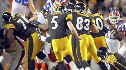 Steelers' Piotr Czech kicks a field goal against the Bills in the second quarter last night. Will the second-string kicker give Jeff Reed a run for his money?