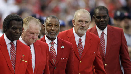 From left former Cardinals greats Lou Brock, Red Schoendeinst, Ozzie Smith, Bruce Sutter and Bob Gibson are introduced before the first inning.