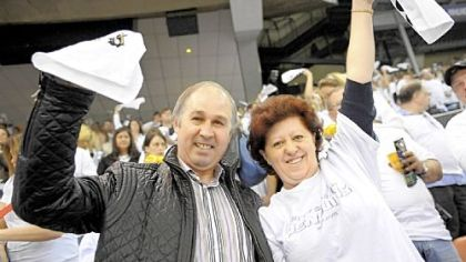 Vladimir and Natalia Malkin support their son, Evgeni, at Mellon Arena during game 5 of the Stanley Cup Playoffs Thursday.