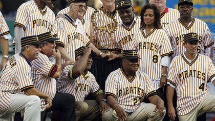 Members of the 1979 world championship Pirates together with the World Series trophy before Saturday night&#039;s game. From left to right, top row, Omar Moreno, Bruce Kison, partially blocked by Chuck Tanner, Kent Tekulve, Bill Madlock, wife of the late slugger Willie Stargell, Margaret Stargell, Don Robinson, and Rennie Stennett,, Bottom row right to left are Dale Berra , Mike Easler, Grant Jackson, Steve Nicosia and Phil Garner.