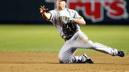 Pirates first baseman Steve Pearce makes the play for an out in the third inning in last night's road game against the Diamondbacks.