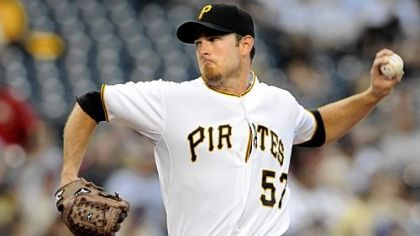 The Pirates' Zach Duke pitches against the Cubs last night.