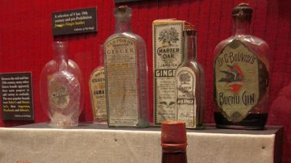 Collection of gin bottles at The Museum of the American Coctail.