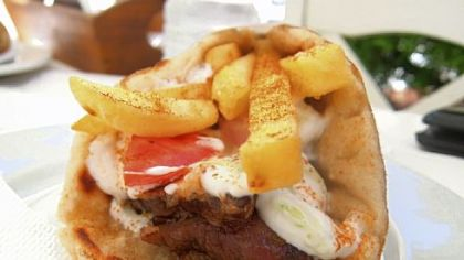 A gyro pita from a small souvlaki joint in Oia on Santorini.