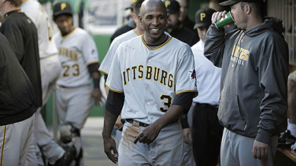 Nyjer Morgan smiles in the dugout after leading off the baseball game against the Washington Nationals with a double last night in Washington. Morgan scored later in the inning.