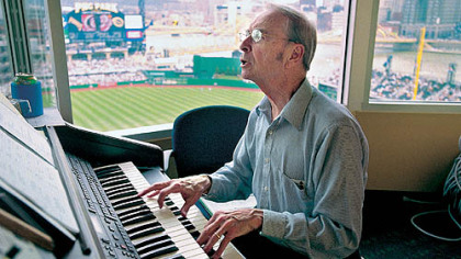 In this file photo, organist Vince Lascheid plays during the Pirates 2001 home opener at PNC Park.