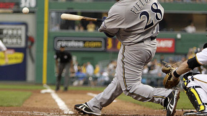 Brewers first baseman Prince Fielder singles off Pirates pitcher Virgil Vasquez in the fifth inning, driving in infielder Craig Counsell.