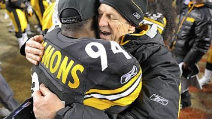 Dick LeBeau celebrates with Lawrence Timmons after beating the Ravens for the AFC championship in January at Heinz Field.