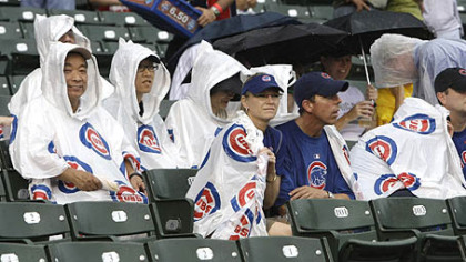 The Pirates and Cubs were rained out Sunday afternoon after fans waited through a three hours, 15 minutes rain delay.