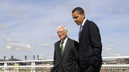 Steelers&#039; owner Dan Rooney Sr. walks with President Barack Obama near the David L. Lawrence Convention Center during the campaign last year.