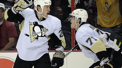 Penguins left winger Ruslan Fedotenko, left, has 10 points on five goals and five assists in the 2009 NHL playoffs.
